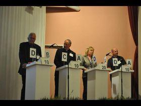 Die Kandidaten beim Grebenhain-Quiz (von links) Richard Löffler, Winfried Disser, Brigitte Meinhard-Klein und Ralf Pfannstiel.