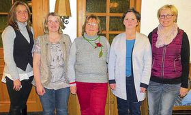 Das Bild zeigt den wiedergewählten Vorstand. Von links: Alexandra Schiller (Schriftführerin), Marion Schulze (Rechnerin), Doris Frank (Vorsitzende), Janett Gläß (Zweite Vorsitzende), Kerstin Mayer (Schriftführerin). Es fehlt Anita Meinhart (Beisitzer
